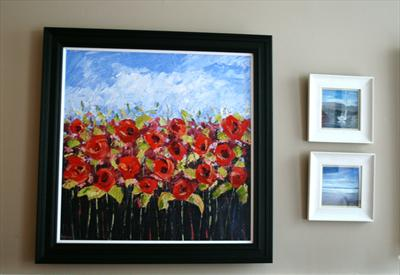 Textured Red Poppies by Alison Cowan, Painting, Acrylic on canvas