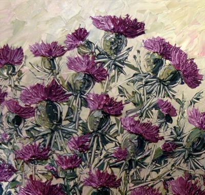 Thistle Field by Alison Cowan, Painting, Acrylic on canvas