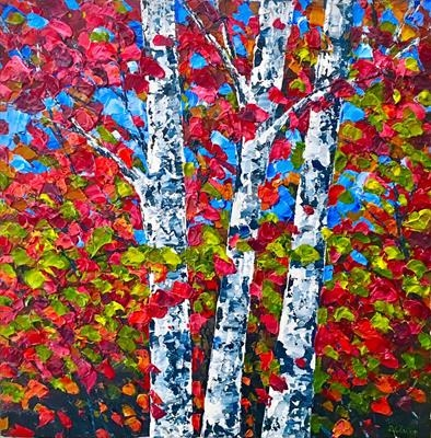Three Birch Trees by Alison Cowan, Painting, Acrylic on canvas