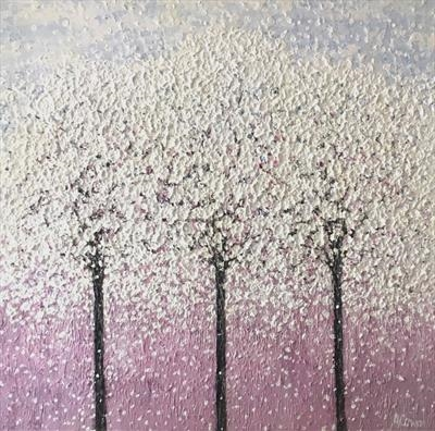 Three Blossom Trees by Alison Cowan, Painting, Acrylic on canvas