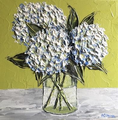 Three Hydrangeas on Lime by Alison Cowan, Painting, Acrylic on canvas
