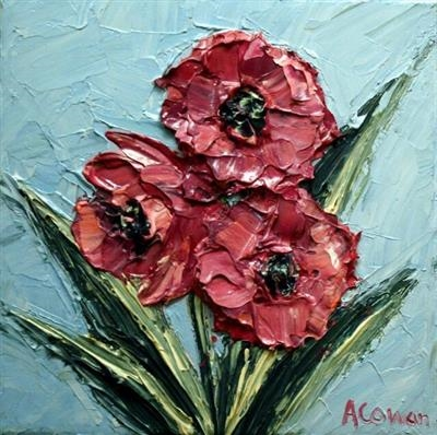 Three Wee Poppies by Alison Cowan, Painting, Acrylic on canvas