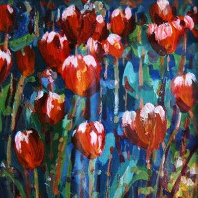 Tulips Blowing in the wind by Alison Cowan, Painting, Acrylic on canvas