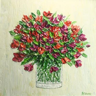 Tulips in Glass Vase by Alison Cowan, Painting, Acrylic on canvas