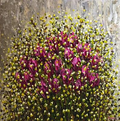 Tulips with Willow by Alison Cowan, Painting, Acrylic on canvas