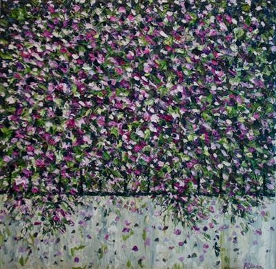 Tumbling Mauve by Alison Cowan, Painting, Acrylic on canvas