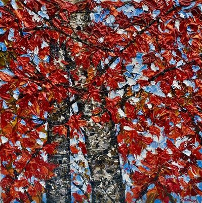 Twin Birch with Maple by Alison Cowan, Painting, Acrylic on canvas