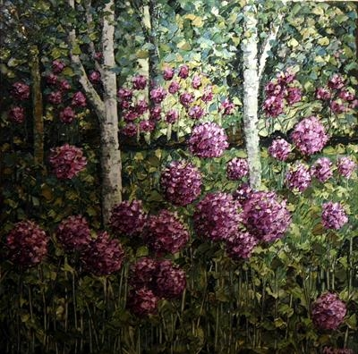 Twin Trees with Allium Pom Poms by Alison Cowan, Painting, Acrylic on canvas