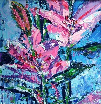 Two Pink Lilies by Alison Cowan, Painting, Acrylic on canvas