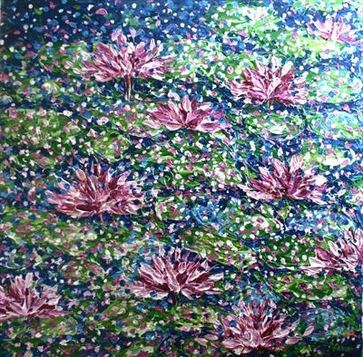 Water Lilies by Alison Cowan, Painting, Acrylic on canvas