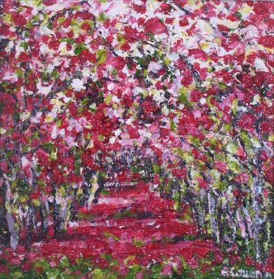 Wee Pink Path by Alison Cowan, Painting, Acrylic on canvas