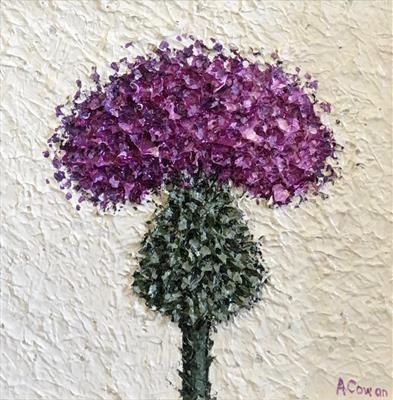 Wee Textured Thistle by Alison Cowan, Painting, Acrylic on canvas