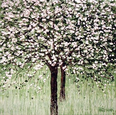 White Blossom by Alison Cowan, Painting, Acrylic on canvas