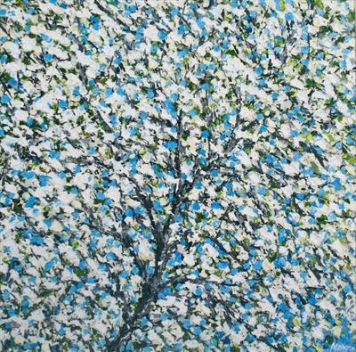 White Blossom on Blue by Alison Cowan, Painting, Acrylic on canvas