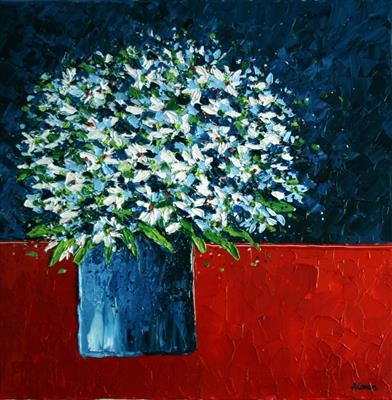 White Daisies on Red Cloth by Alison Cowan, Painting, Acrylic on canvas