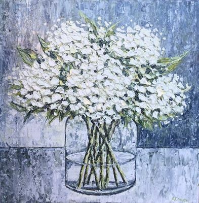 White Hydrangeas by Alison Cowan, Painting, Acrylic on canvas