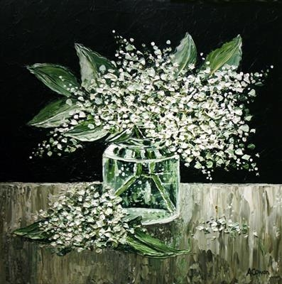 White Lilac in Glass Jar by Alison Cowan, Painting, Acrylic on canvas
