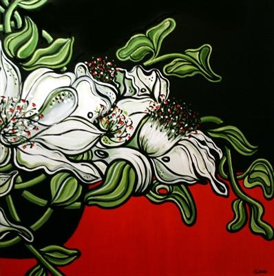White Lilies Spilling Over by Alison Cowan, Painting, Acrylic on canvas
