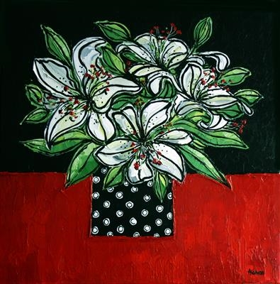 White Lilies in Spotted Vase by Alison Cowan, Painting, Acrylic on canvas