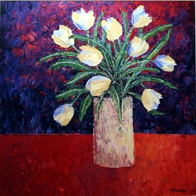 White Tulips by Alison Cowan, Painting, Acrylic on canvas