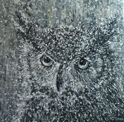 Wise Owl by Alison Cowan, Painting, Acrylic on canvas