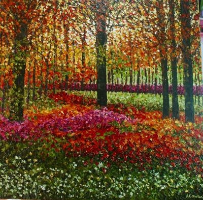 Woodland Garden by Alison Cowan, Painting, Acrylic on canvas