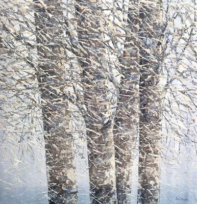 Woven Birch Branches by Alison Cowan, Painting, Acrylic on canvas