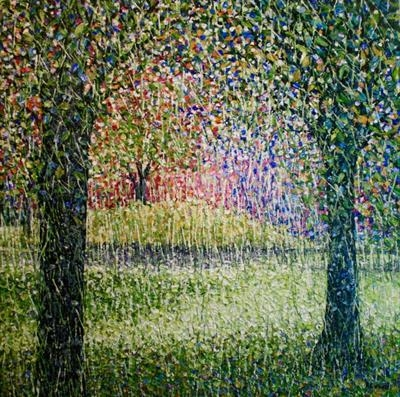 Woven Grove by Alison Cowan, Painting, Acrylic on canvas