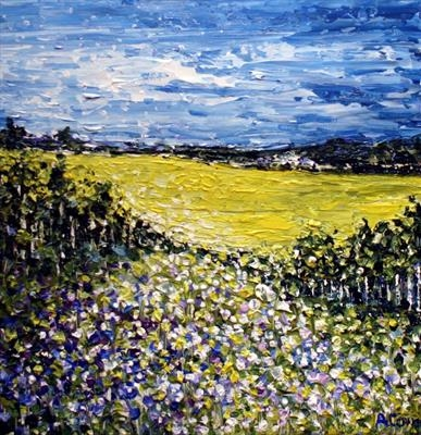Yellow Fields by Alison Cowan, Painting, Acrylic on canvas